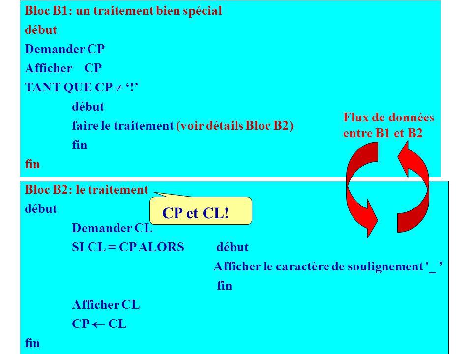 CP et CL! Bloc B1: un traitement bien spécial début Demander CP