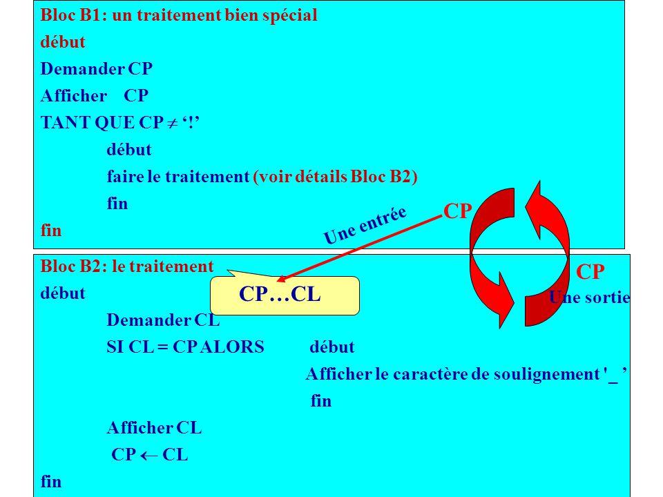 CP CP CP…CL Bloc B1: un traitement bien spécial début Demander CP