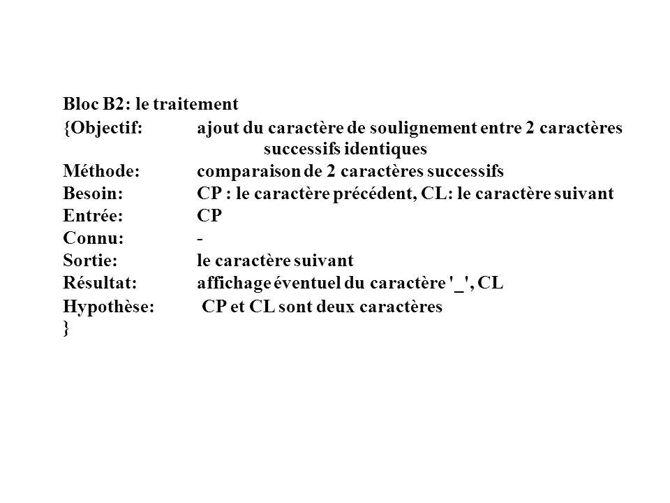 Bloc B2: le traitement {Objectif: ajout du caractère de soulignement entre 2 caractères successifs identiques.