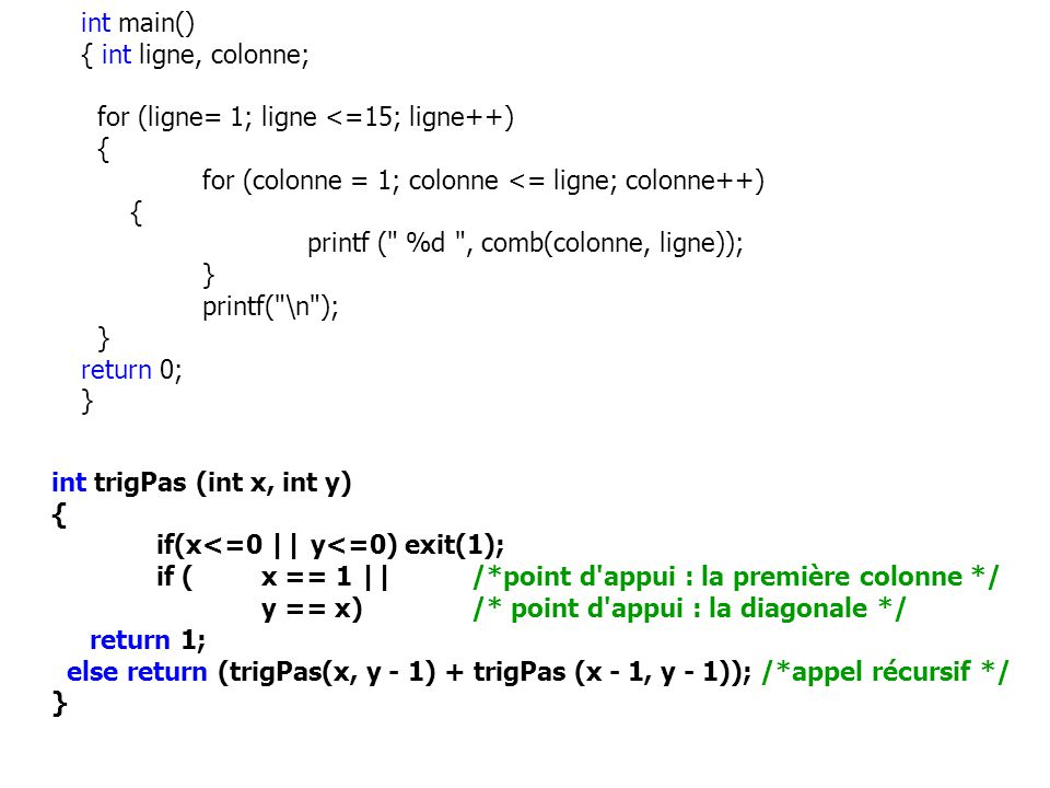int main() { int ligne, colonne; for (ligne= 1; ligne <=15; ligne++) { for (colonne = 1; colonne <= ligne; colonne++)