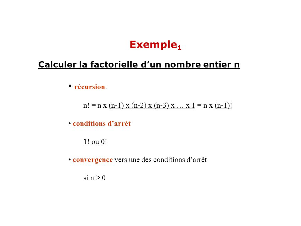 Exemple1 récursion: Calculer la factorielle d'un nombre entier n