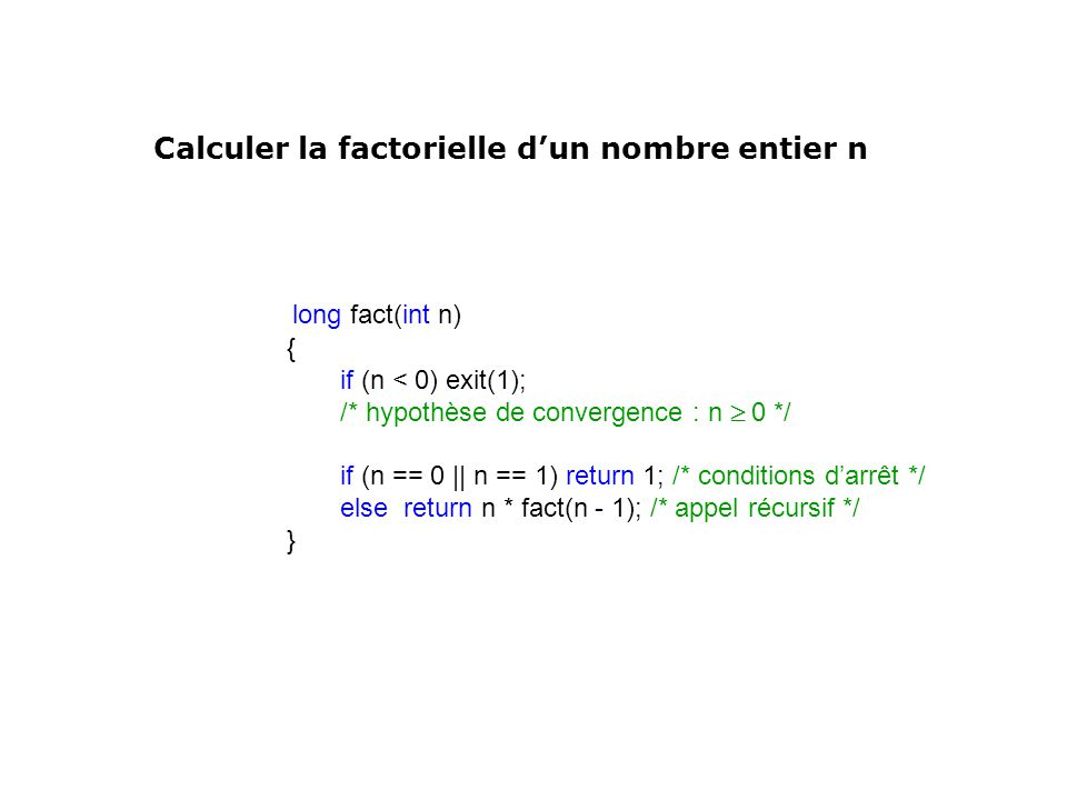 long fact(int n) Calculer la factorielle d'un nombre entier n {