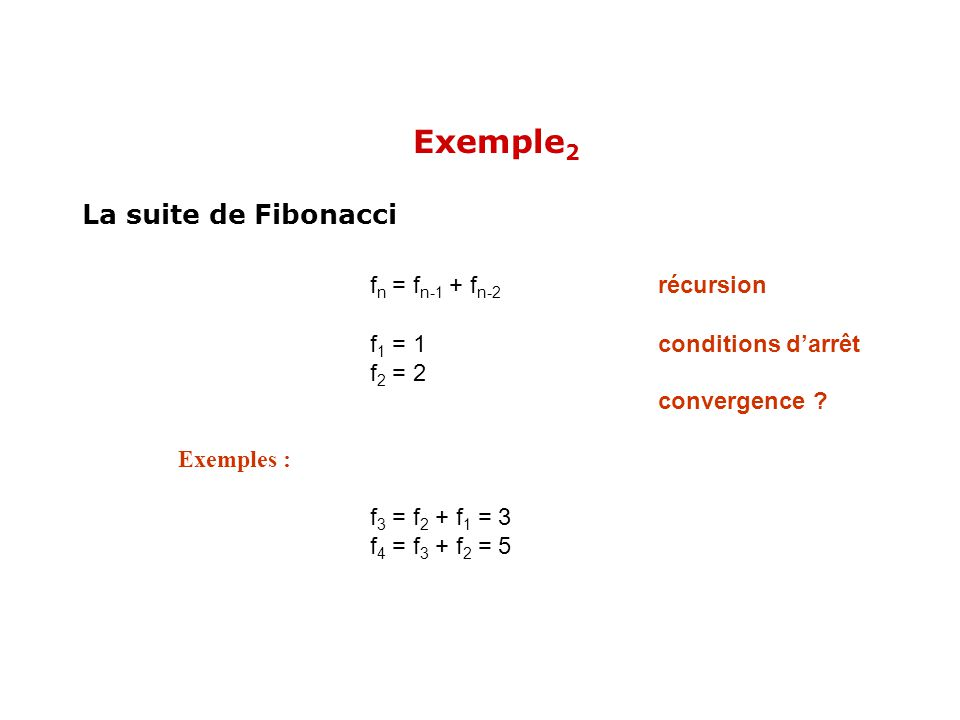 Exemple2 fn = fn-1 + fn-2 récursion La suite de Fibonacci