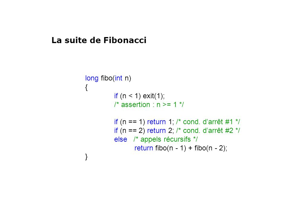 long fibo(int n) La suite de Fibonacci { if (n < 1) exit(1);