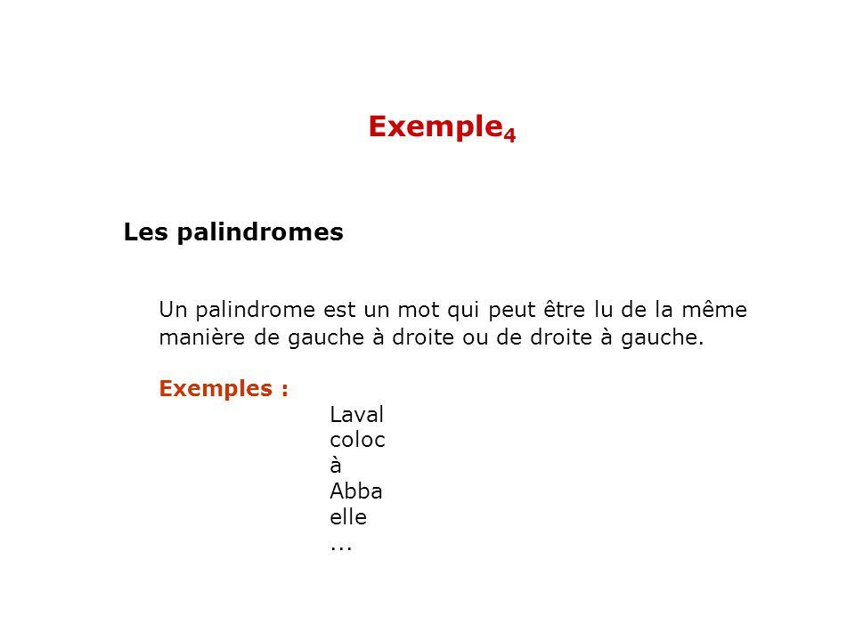 Un palindrome est un mot qui peut être lu de la même