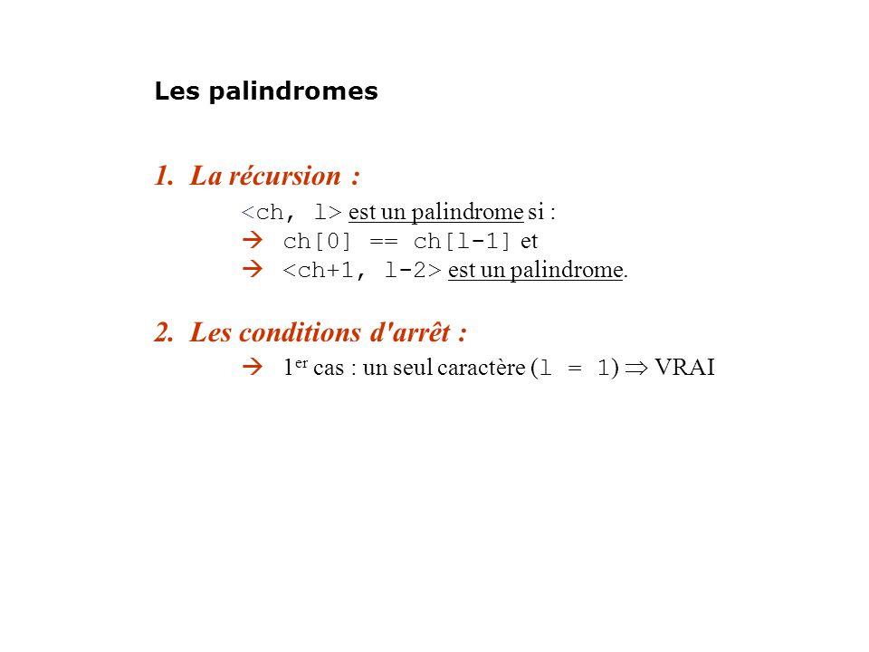 <ch, l> est un palindrome si :