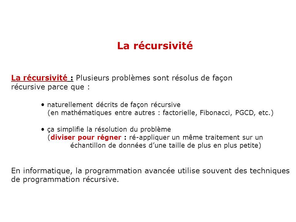 La récursivité La récursivité : Plusieurs problèmes sont résolus de façon. récursive parce que : naturellement décrits de façon récursive.