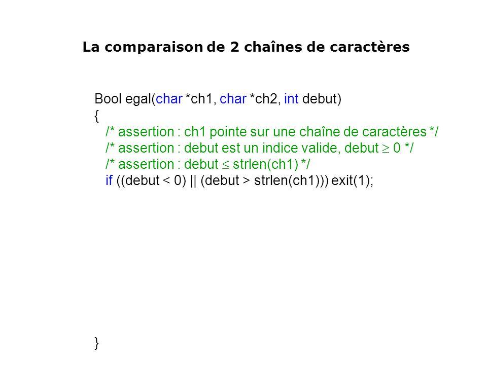 Bool egal(char *ch1, char *ch2, int debut)