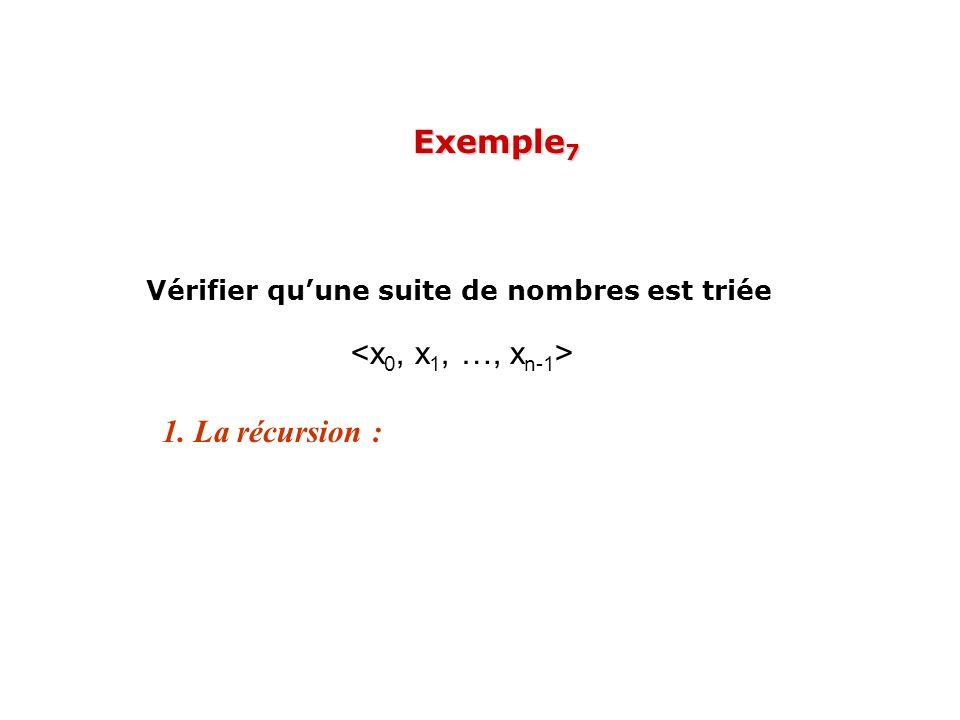 Exemple7 Vérifier qu'une suite de nombres est triée <x0, x1, …, xn-1> 1. La récursion :