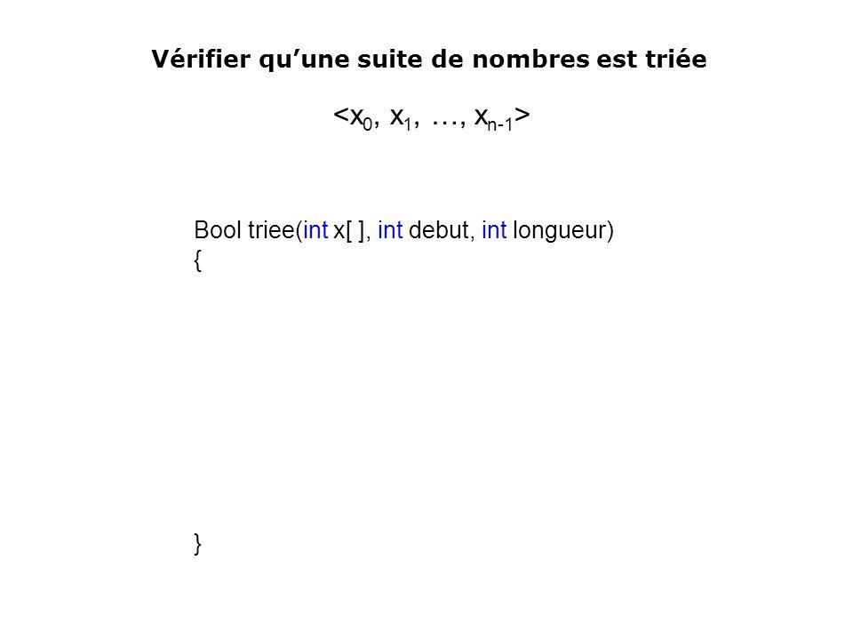 Vérifier qu'une suite de nombres est triée <x0, x1, …, xn-1>