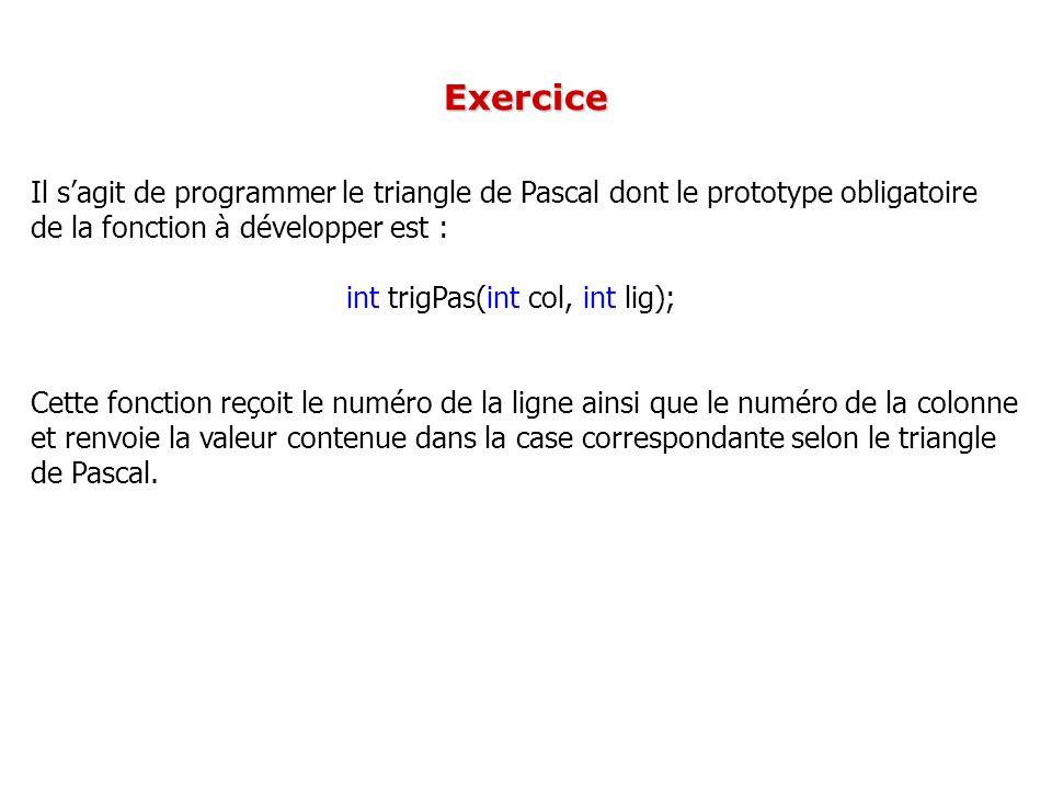 Exercice Il s'agit de programmer le triangle de Pascal dont le prototype obligatoire. de la fonction à développer est :