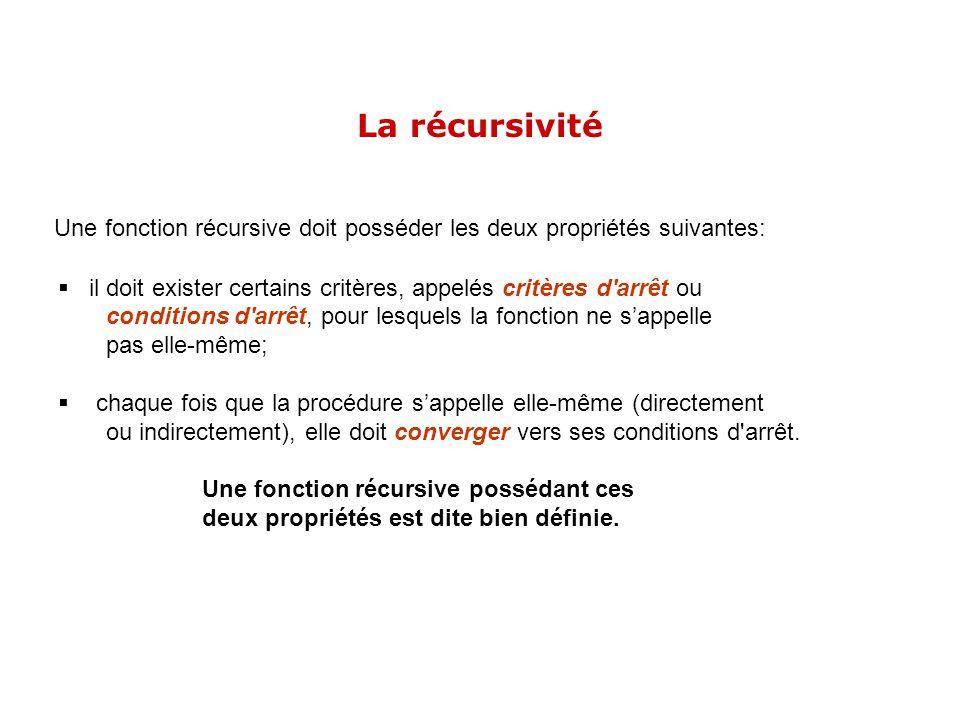 Une fonction récursive doit posséder les deux propriétés suivantes: