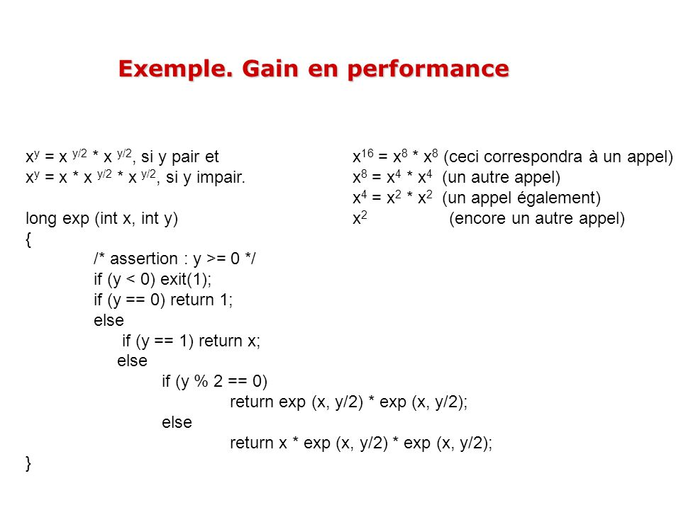 Exemple. Gain en performance