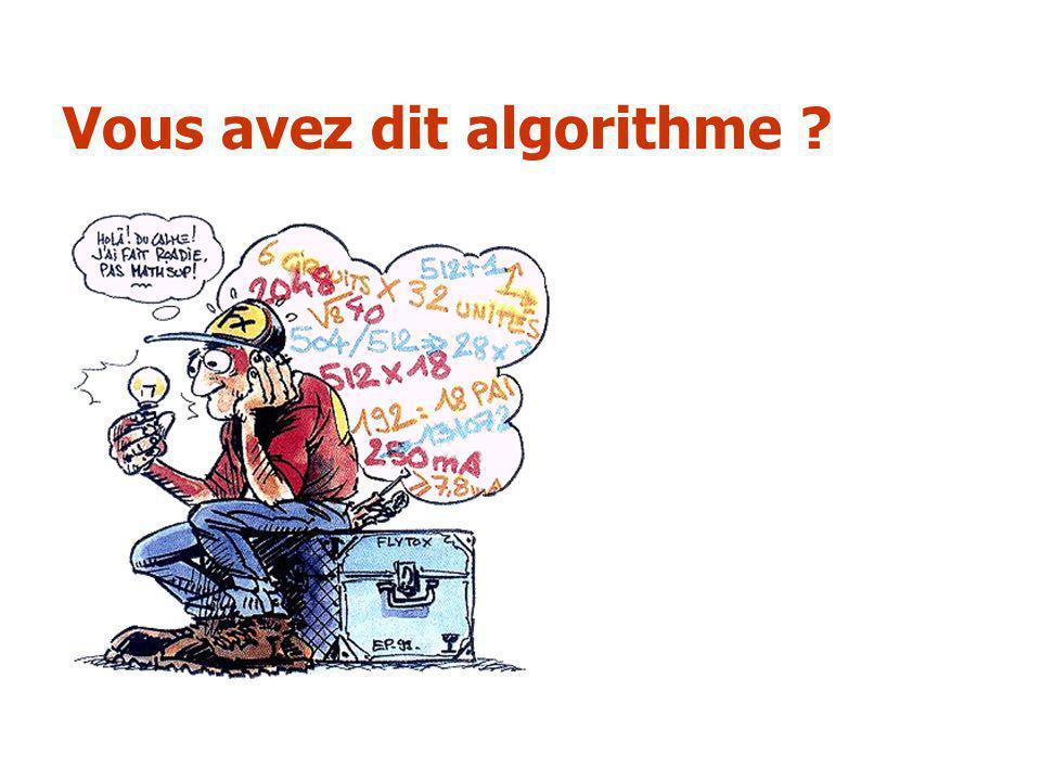 Vous avez dit algorithme