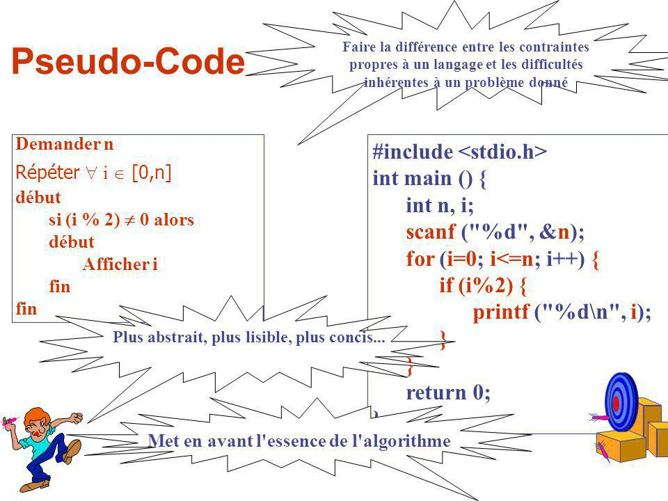 Pseudo-Code #include <stdio.h> int main () { int n, i;