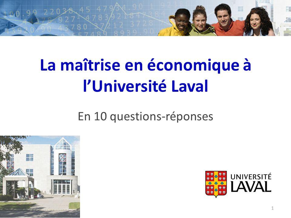 La maîtrise en économique à l'Université Laval