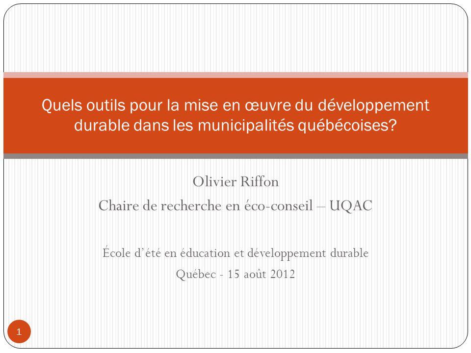 Chaire de recherche en éco-conseil – UQAC