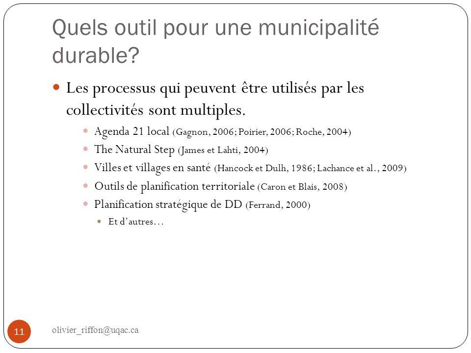 Quels outil pour une municipalité durable