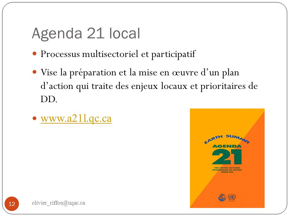 Agenda 21 local Processus multisectoriel et participatif