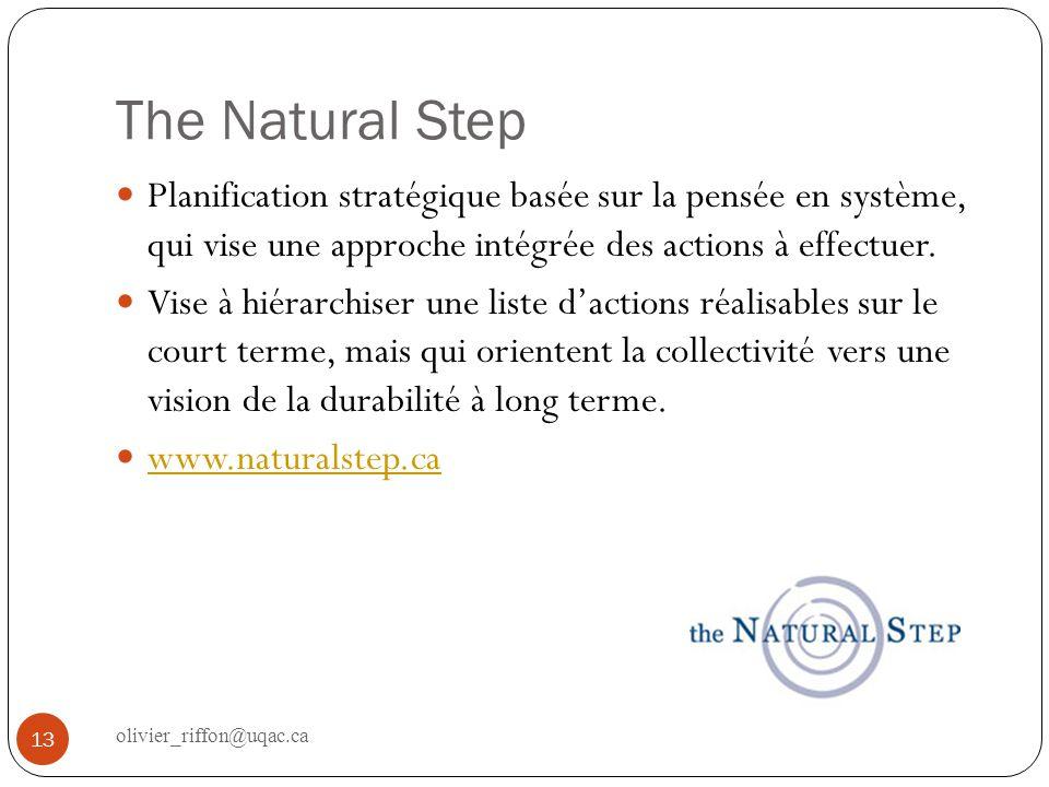 The Natural Step Planification stratégique basée sur la pensée en système, qui vise une approche intégrée des actions à effectuer.
