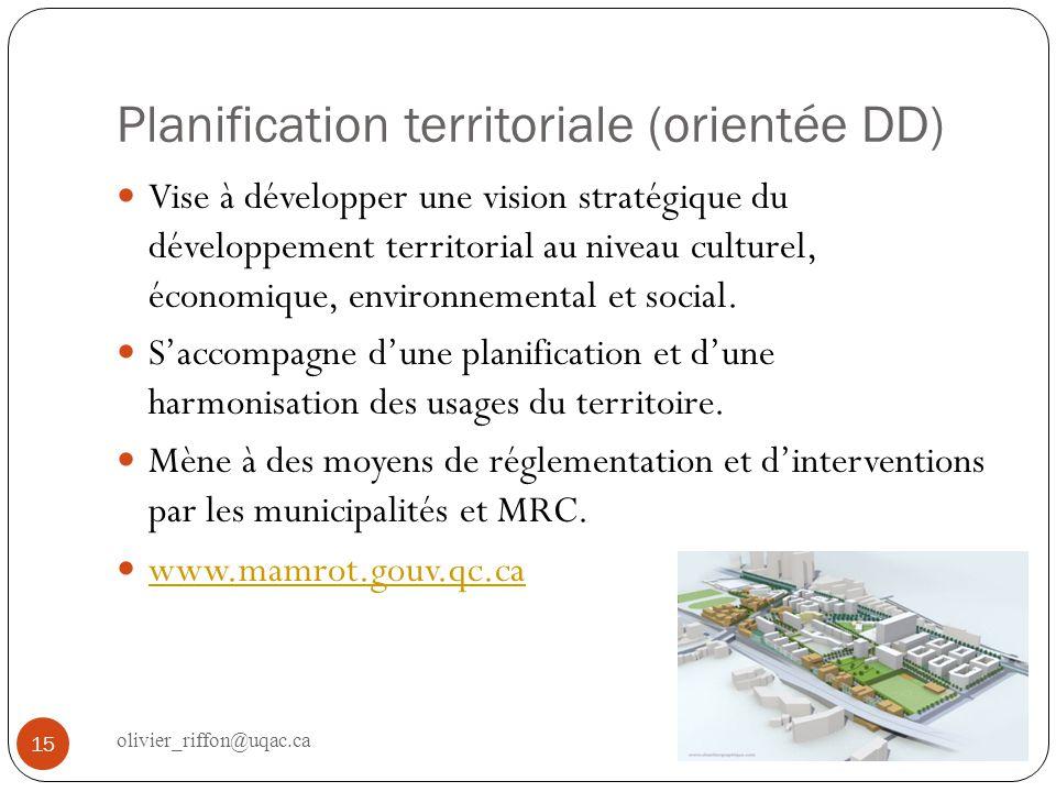 Planification territoriale (orientée DD)