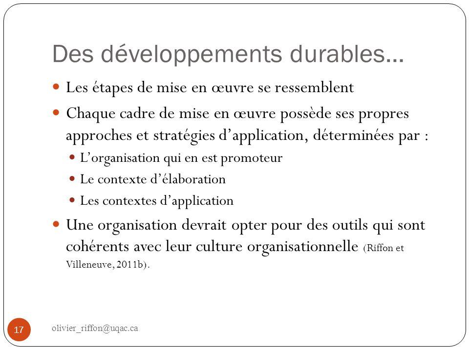 Des développements durables…