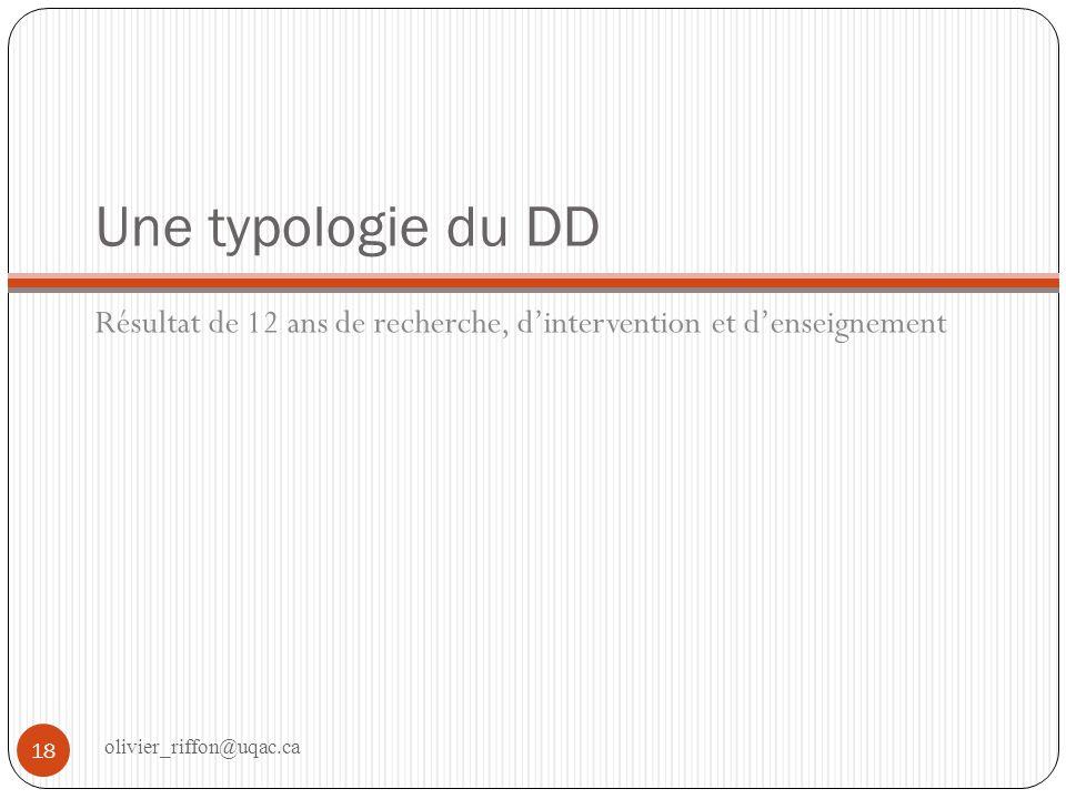 Une typologie du DD Résultat de 12 ans de recherche, d'intervention et d'enseignement.