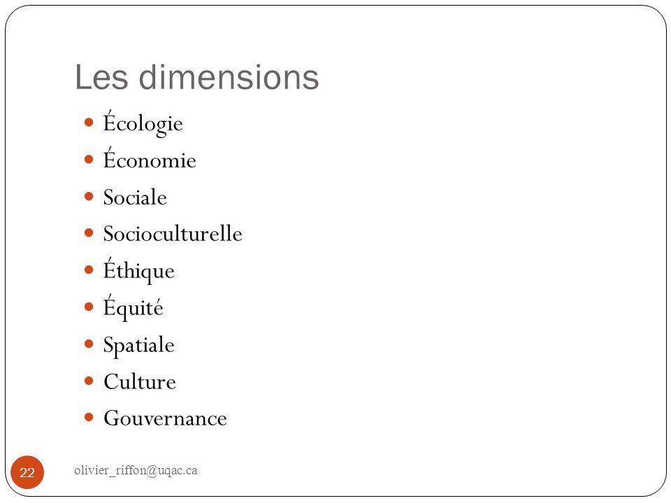 Les dimensions Écologie Économie Sociale Socioculturelle Éthique