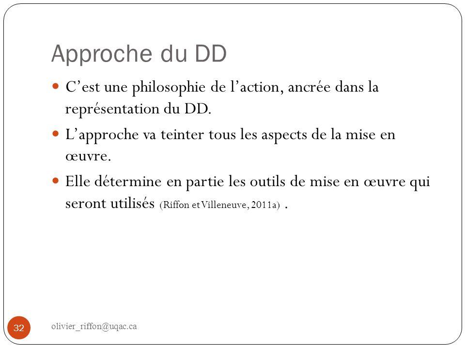 Approche du DD C'est une philosophie de l'action, ancrée dans la représentation du DD. L'approche va teinter tous les aspects de la mise en œuvre.