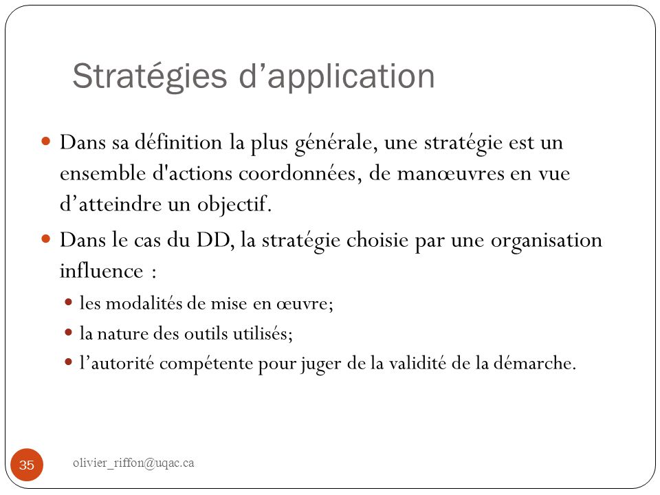 Stratégies d'application