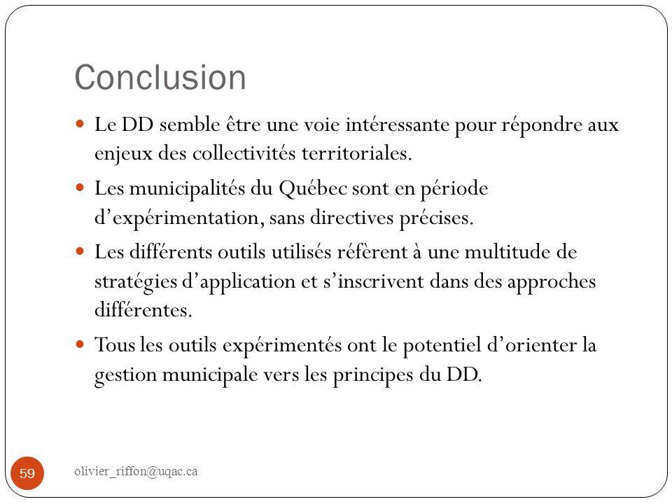 Conclusion Le DD semble être une voie intéressante pour répondre aux enjeux des collectivités territoriales.