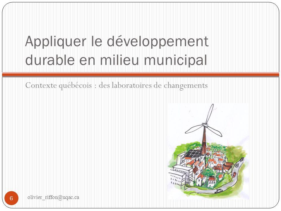 Appliquer le développement durable en milieu municipal