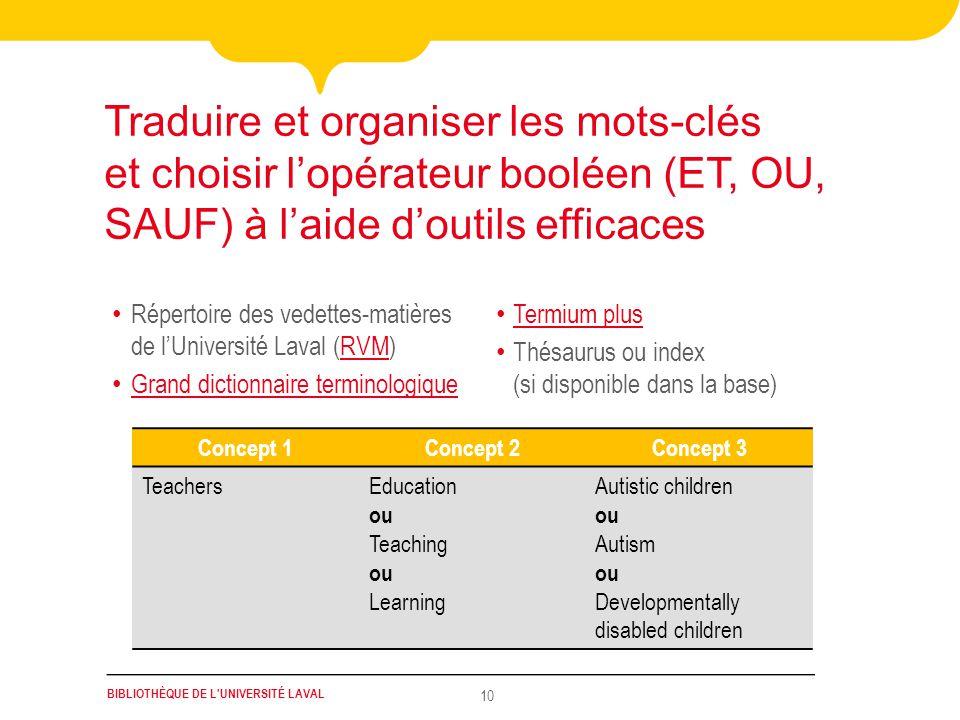 Traduire et organiser les mots-clés et choisir l'opérateur booléen (ET, OU, SAUF) à l'aide d'outils efficaces