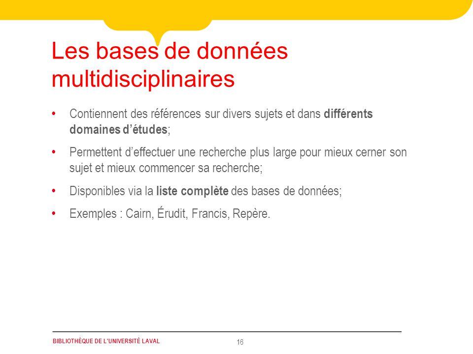 Les bases de données multidisciplinaires