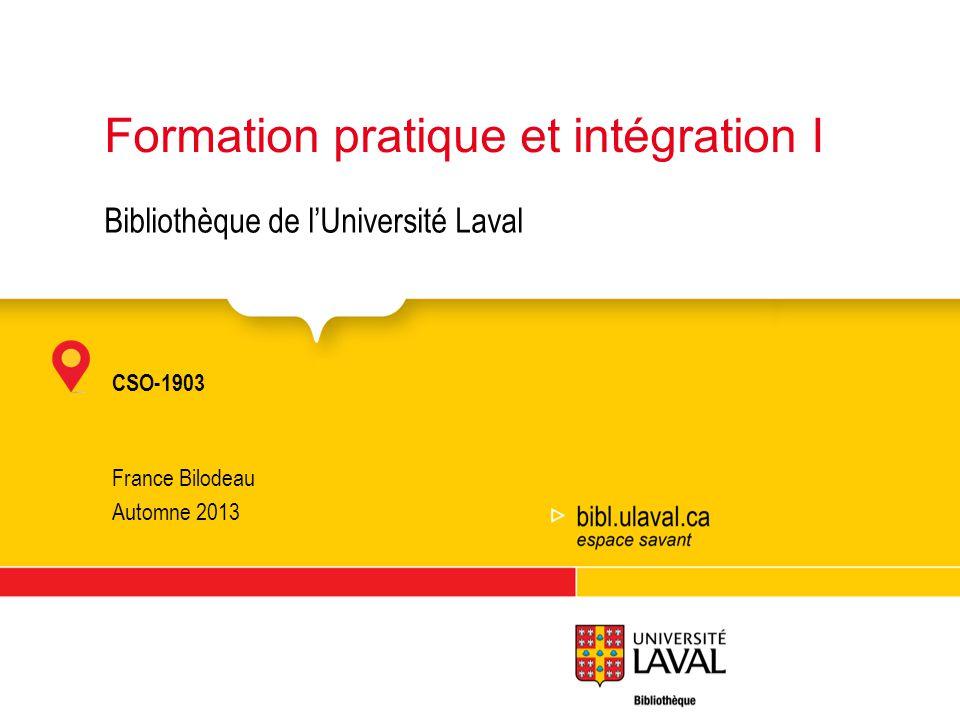 Formation pratique et intégration I
