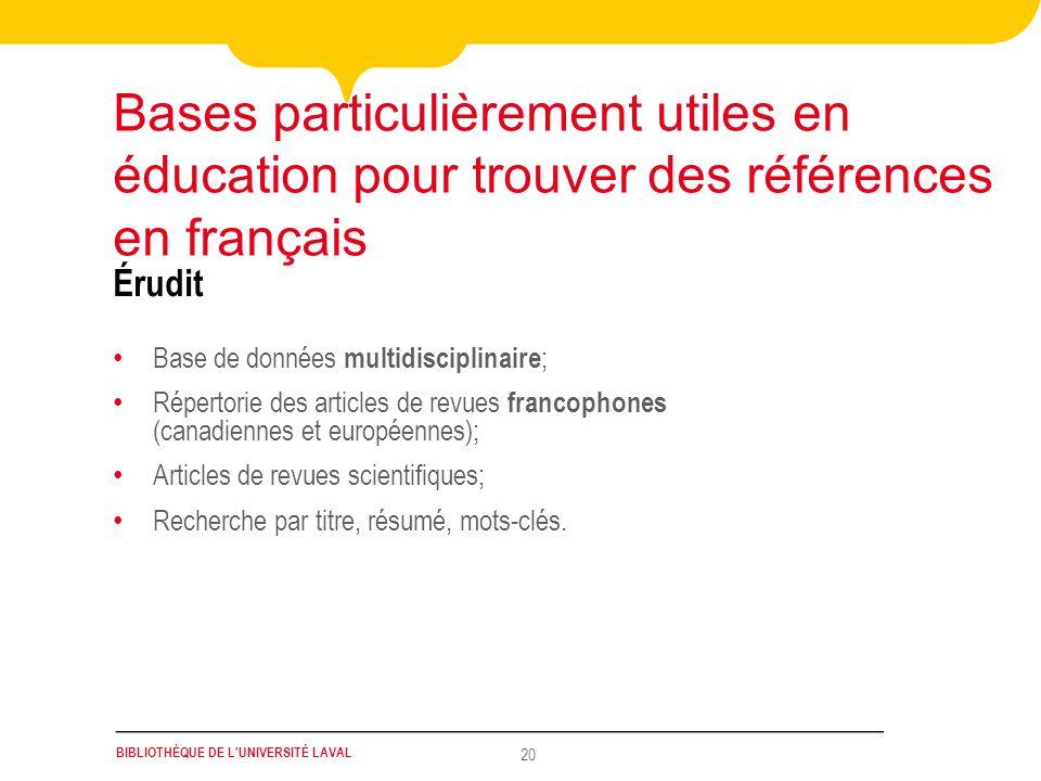 Bases particulièrement utiles en éducation pour trouver des références en français