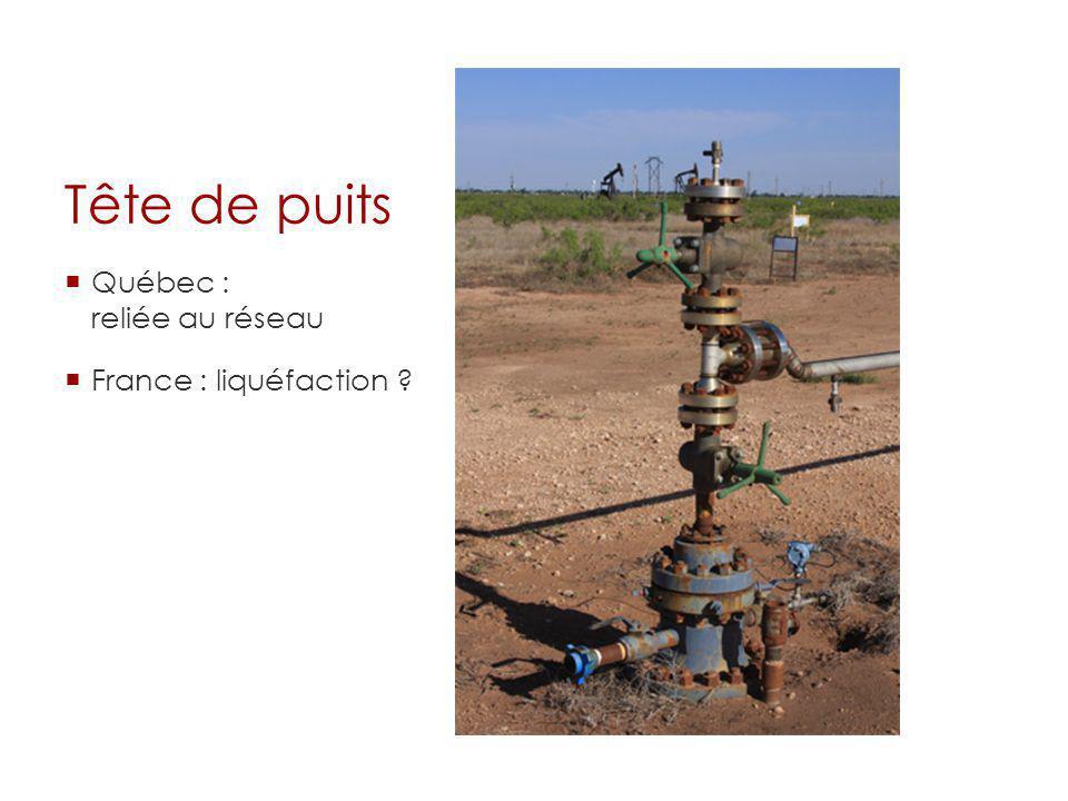 Tête de puits Québec : reliée au réseau France : liquéfaction