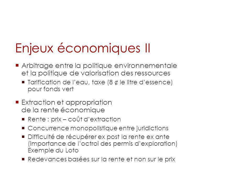 Enjeux économiques II Arbitrage entre la politique environnementale et la politique de valorisation des ressources.