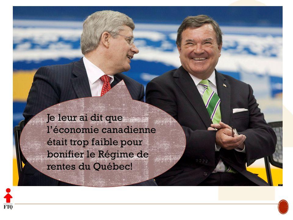 Je leur ai dit que l'économie canadienne était trop faible pour bonifier le Régime de rentes du Québec!