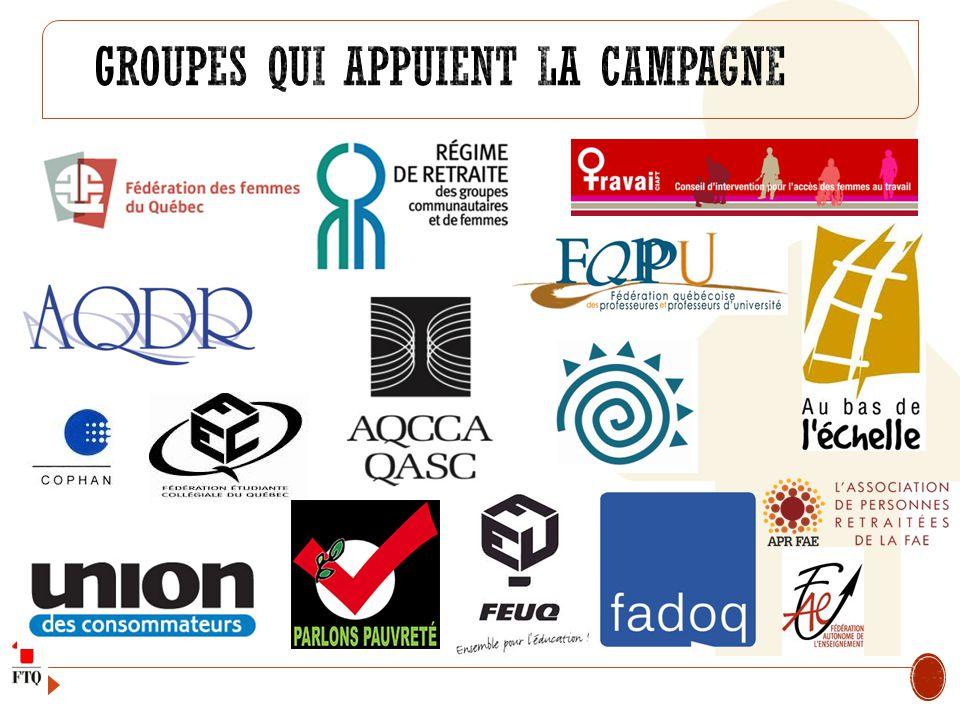 Groupes qui appuient la Campagne