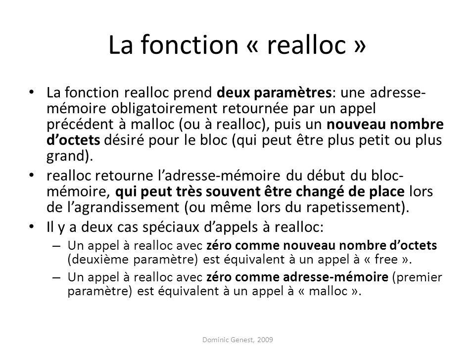 La fonction « realloc »