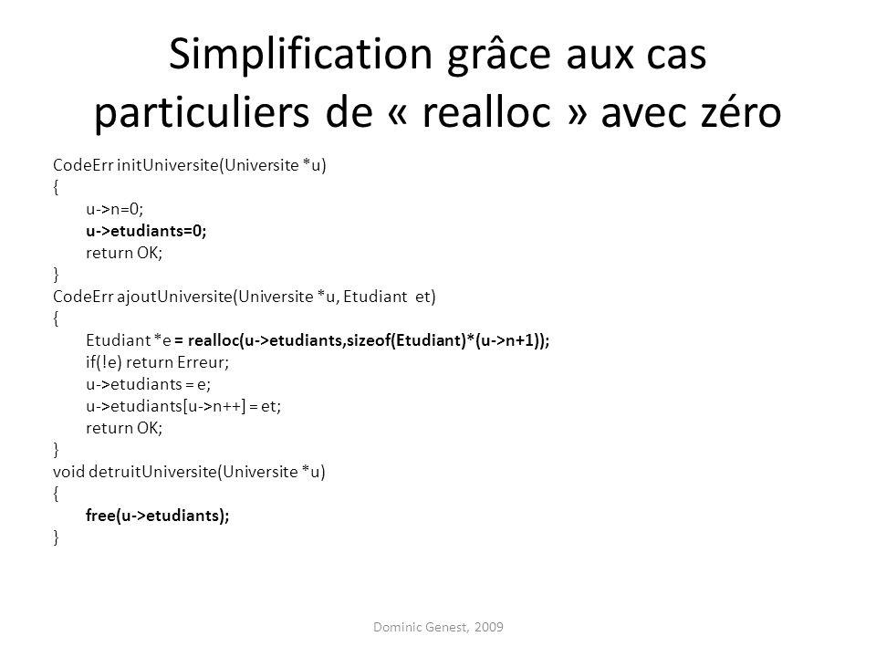 Simplification grâce aux cas particuliers de « realloc » avec zéro