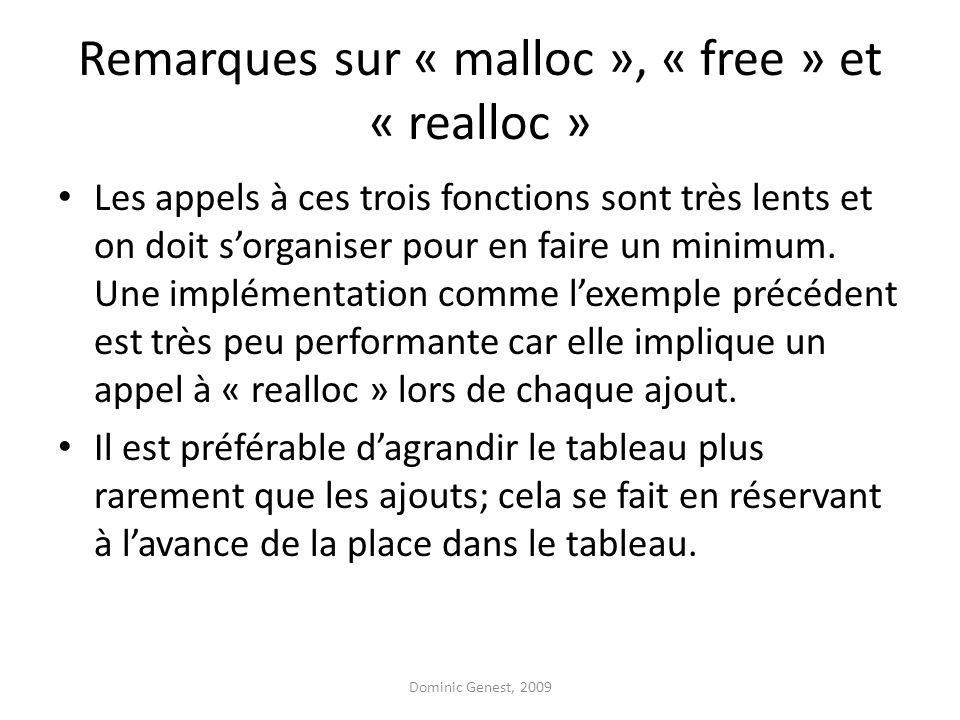 Remarques sur « malloc », « free » et « realloc »