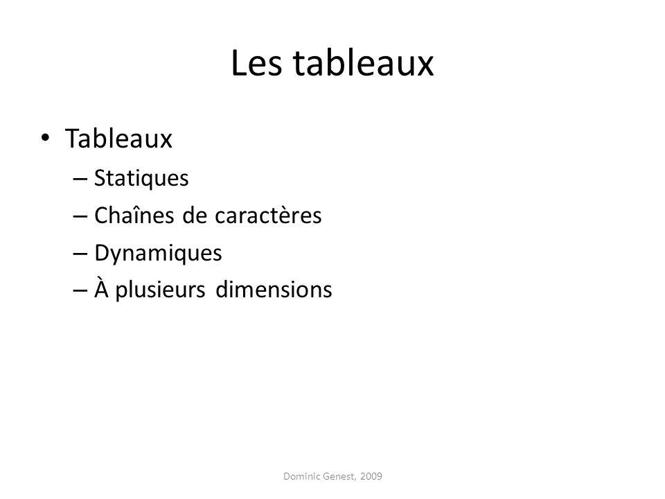 Les tableaux Tableaux Statiques Chaînes de caractères Dynamiques
