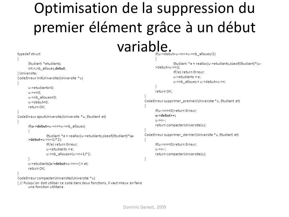 Optimisation de la suppression du premier élément grâce à un début variable.