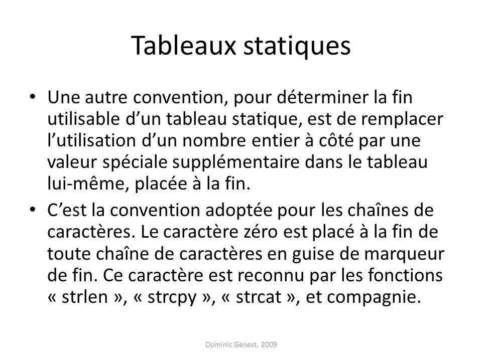 Tableaux statiques