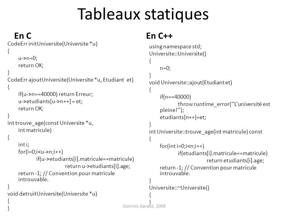 Tableaux statiques En C En C++