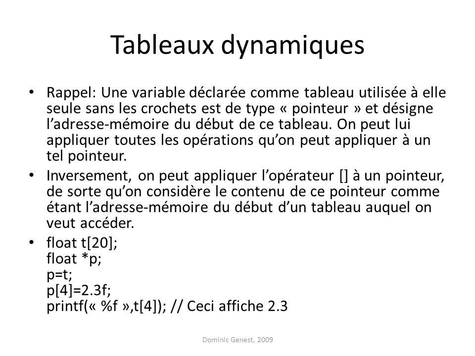 Tableaux dynamiques