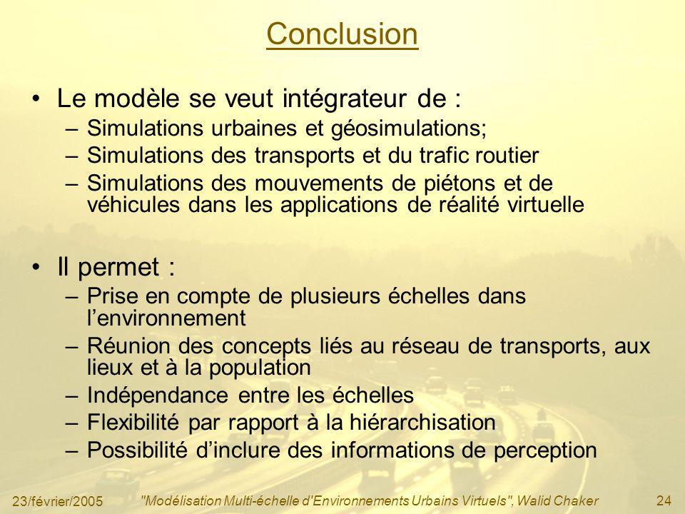 Conclusion Le modèle se veut intégrateur de : Il permet :