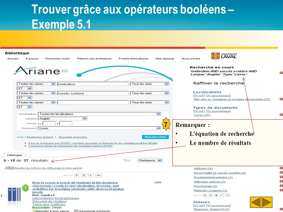 Trouver grâce aux opérateurs booléens – Exemple 5.1